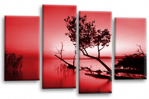 Sunset Landscape Wall Art Picture Red Cream Canvas Split Panel